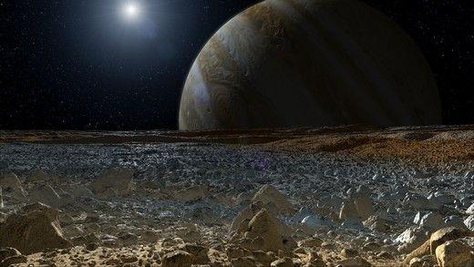 (O Sol e Júpiter vistos a partir da Superfície da lua Europa)Recursos Educativos: NASA já discute o que será necessário para um potencial pouso de missão robótica na lua Europa de Júpiter