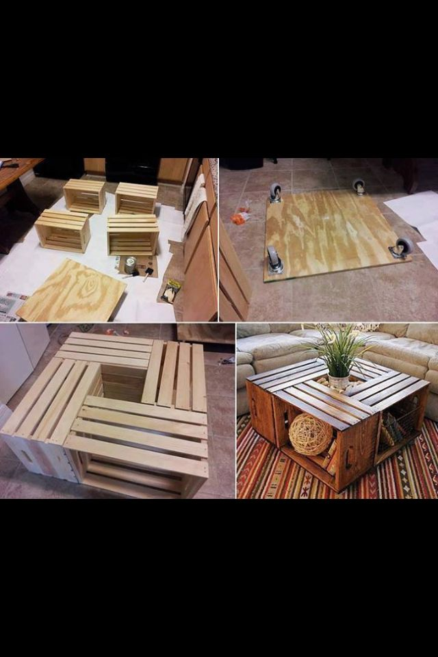 Coffee table DIY - - for kids, put baskets underneath and pillows around for them to sit on ...