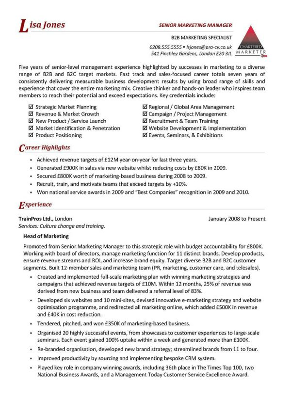 Example Resume Marketing Manager Sample Australian Examples