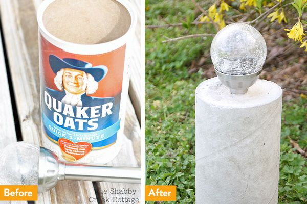 Don't toss that empty oatmeal container; use it to create cheap, chic landscape lighting // DIY solar lights