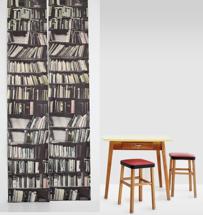 Screen printed and hand painted fake bookshelve bookshelf wallpaper.  Deborah bowness