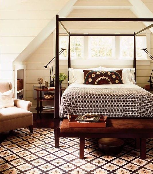 Metallic Masculine Bedroom: Cozy Attic Bedroom With Four Poster Wood Bed