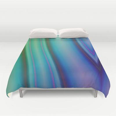 Geometric pattern purple and green Duvet Cover by Christine baessler - $99.00
