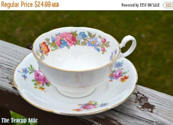 ON SALE Royal Grafton Vintage Floral Teacup and by TheTeacupAttic