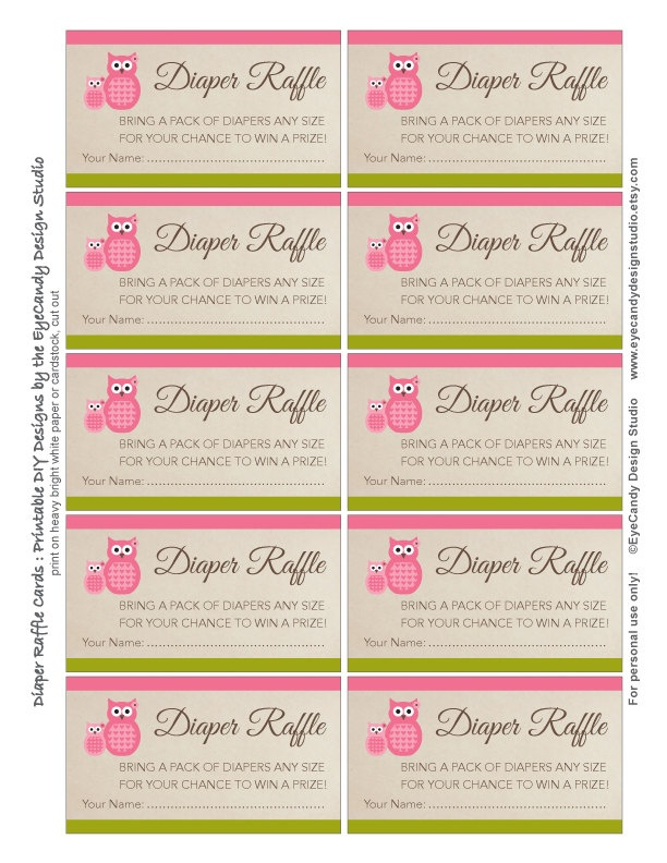 printable owl diaper raffle tickets diaper raffle cards owl girl