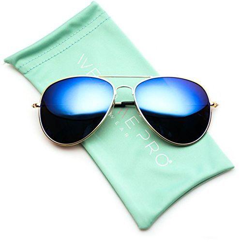 1c437f1d596 WearMe Pro - Polarized Metal Frame Pilot Style Aviator Sunglasses (Gold  Frame   Mirror Blue Lens