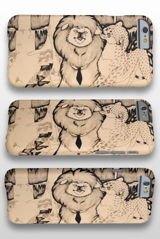 """""""Young Girl"""" Black and White Illustrated Feline Couple iPhone 6 Case #lion #cheetah #art #illustration #products"""