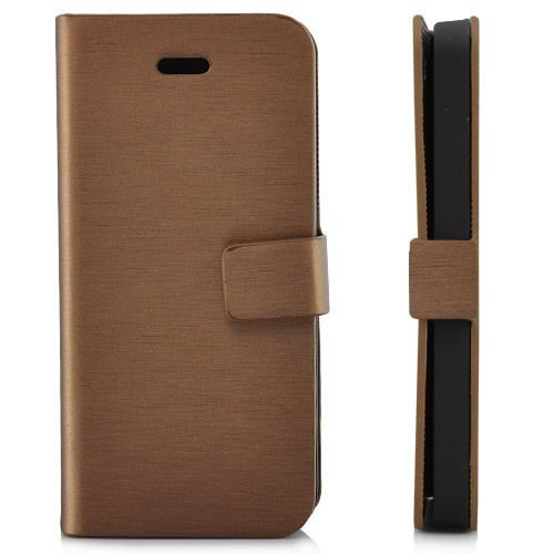 Wallet Shaped Magnetic Satin Material Leather Case  for iPhone 5-Coffee