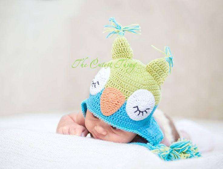 Hibou chapeau bébé.Bonnet bébé crochet chouette de The Cutest Thing sur DaWanda.com