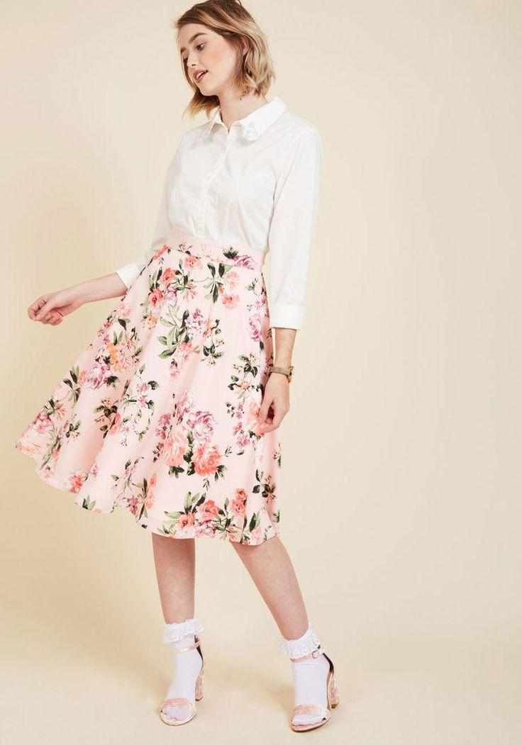 #ModCloth - #ModCloth Bugle Joy Skirt in Pink Blossoms in XL - AdoreWe.com