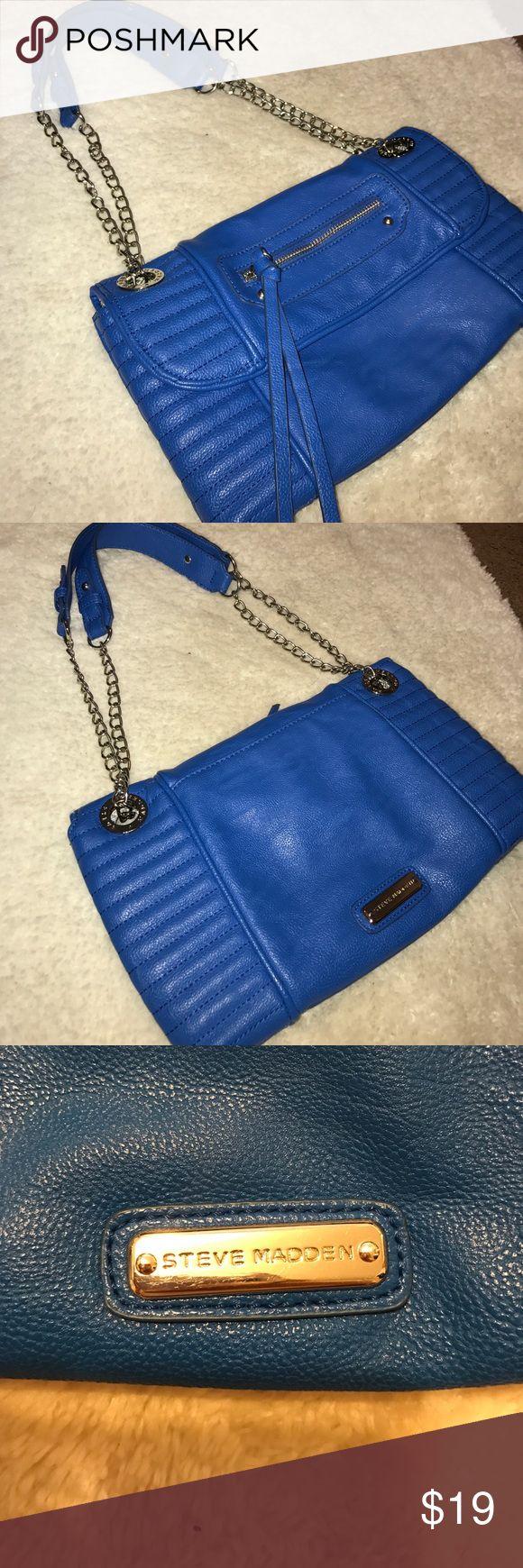 Royal blue Steve Madden purse Royal blue Steve Madden purse. Stripped pattern inside. Great condition! Steve Madden Bags Shoulder Bags