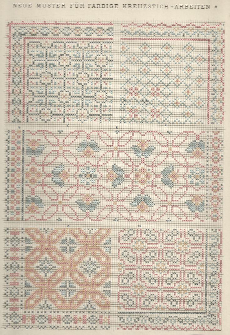 1 / Blatt 14 Gallen Cross stitch pattern two tone border corner fill all over