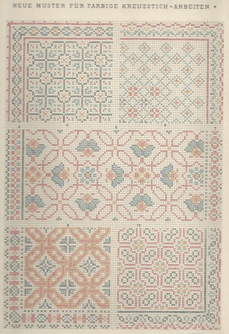 1 / Blatt 14 Gallen Cross stitch pattern two tone border corner fill all over