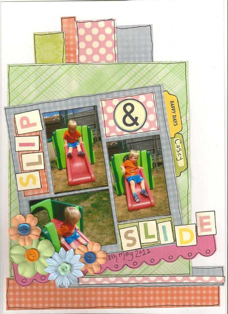 Slip & Slide - Scrapbook.com - Fun page. #scrapbooking #layouts