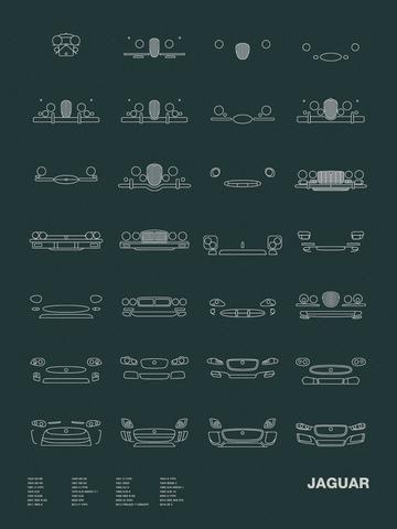Auto Icon Screen Print Series: JaguarModels shown: 1936 SS100 / 1948 XK120 / 1951 C-TYPE / 1954 D-TYPE / 1954 XK140 / 1957 XK150 / 1957 XKSS / 1959 MARK 2 / 1961 E-TYPE 1963 S-TYPE / 1966 XJ13 / 1968 XJ6 SERIES 1 / 1976 XJS / 1979 XJ6 SERIES III / 1988 XJR-9 / 1990 XJR-15  / 1992 XJ220 / 1995 XJR / 1998 XKR X100 / 2004 S-TYPE / 2007 XKR X150 / 2009 XFR / 2009 XJ X351 / 2010 RSR XKR GT2 / 2011 XKR-S / 2013 F-TYPE / 2013 PROJECT 7 CONCEPT / 2016 XE S