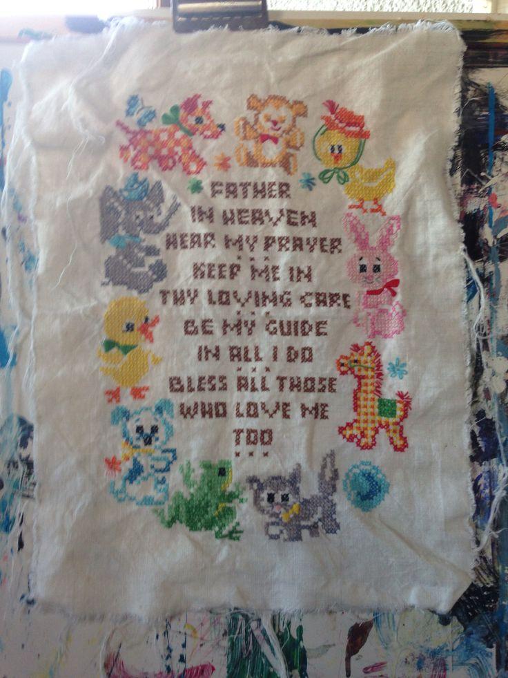 Vintage cross-stitched prayer