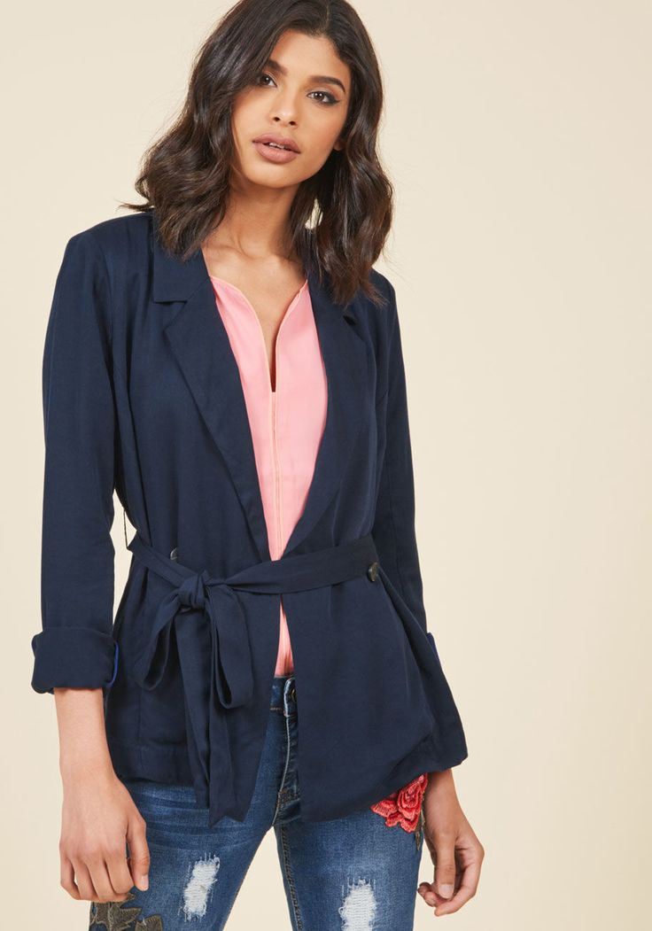 With Stylish Sincerity Drape Blazer in XXS, #ModCloth