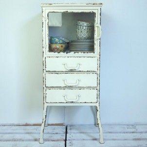 3 Drawer Distressed White Metal Cabinet