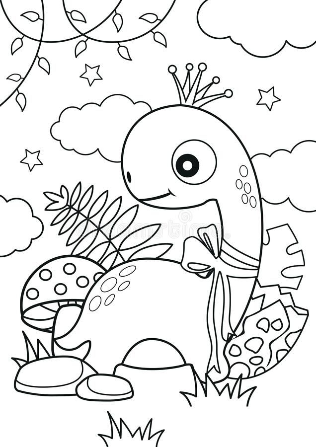 Dreamstime Illustration Art Vector Template Coloring Colouring Page Book Drawing Color Kids Child Activity Pencil Jungle Safari Dinosaur Forest Dino Girl