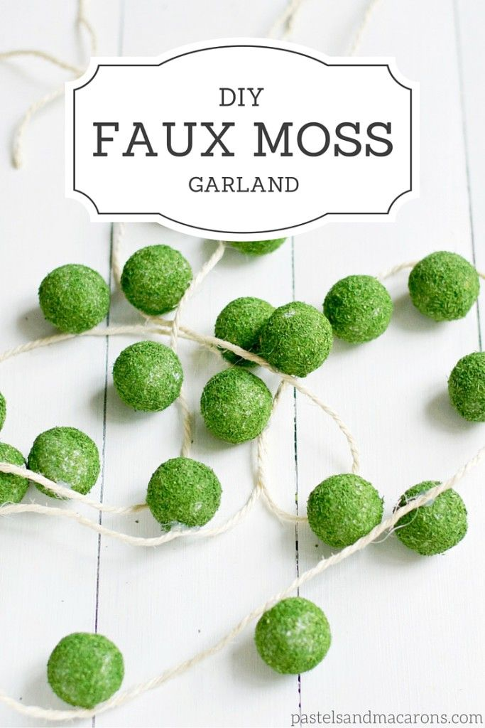 DIY Faux Moss Garland by Pastels & Macarons- www.pastelsandmacarons.com: