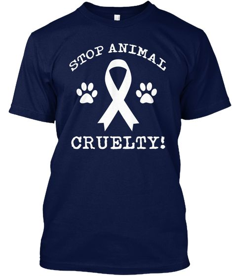Stop Animal Cruelty Navy T-Shirt Front