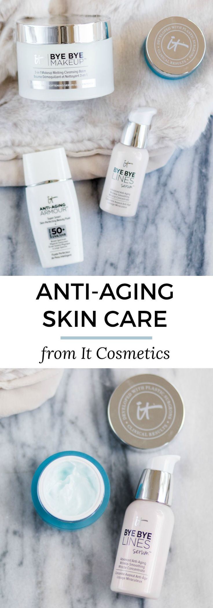 The best anti-aging skincare products from the It Cosmetics at Sephora Collection. Click through this pin to see an honest review of the collection including the anti-aging sunscreen, serum, cleansing balm, eye cream, and more from Florida beauty blogger Ashley Brooke Nicholas #antiagingcreamreviews