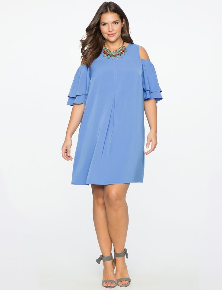 Tiered Sleeve Swing Dress Bluebell
