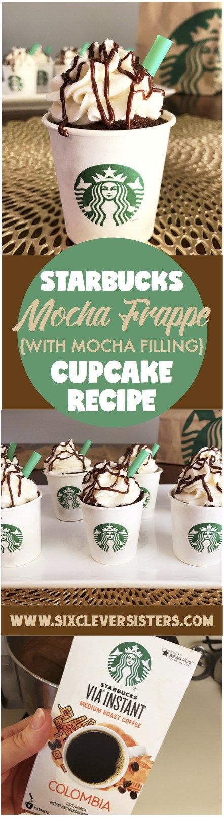 Starbucks Mocha Frappe Cupcakes   Mocha Filing   Starbucks Recipes   Cupcake Recipe   Party Food   Party   Coffee Lover   Starbucks Copycat   Starbucks Drinks   Chocolate Lover   Check out these Mocha Frappe Drinks on Six Clever Sisters!
