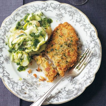 Veal schnitzel with potato salad. For the full recipe, click the picture or visit RedOnline.co.uk
