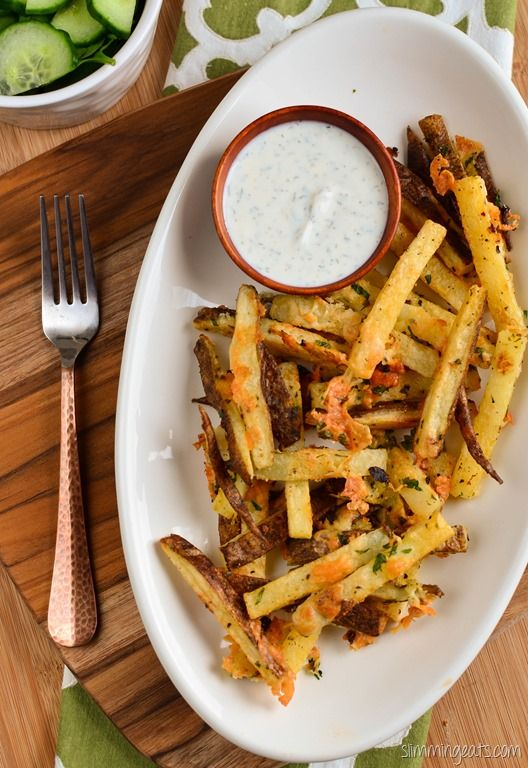 Slimming Eats Garlic Parmesan Fries with Ranch Dressing - gluten free, vegetarian, Slimming World and Weight Watchers friendly