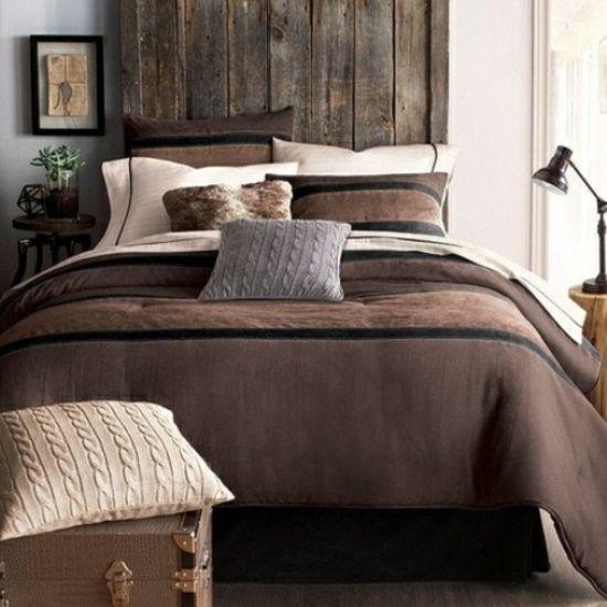 chambre à coucher déco en marron et beige