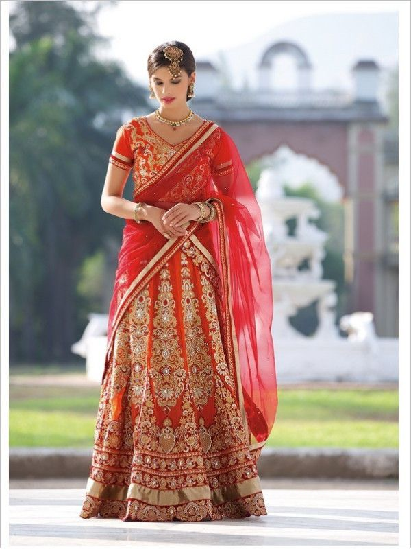 Orange Wedding Georgette Women Lehenga