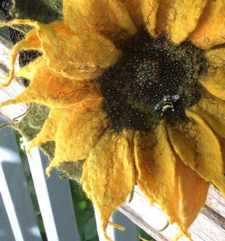 Felted Sunflower made with colors of Merino Top. Wet Felted and Needle Felted by…