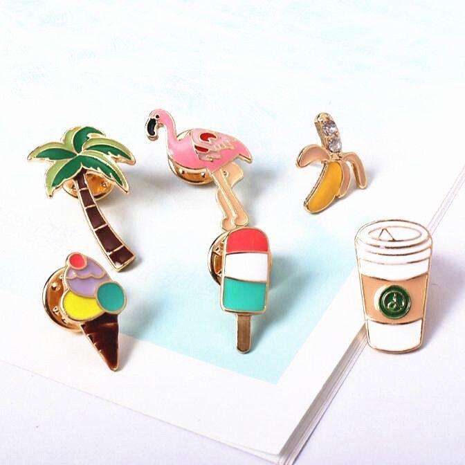 X097 Cartoons kokospalme Flamingo Kaffee Baum eis Metall Brosche Pins Taste Pins Mädchen Dekoration Geschenk Großhandel