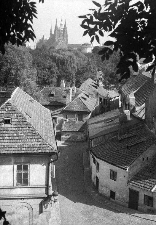 Nový Svět (283) • Praha, září 1959 •   černobílá fotografie, ulička ve slunečném dni, v pozadí Pražský hrad a chrám sv.Víta  • black and white photograph, Prague 