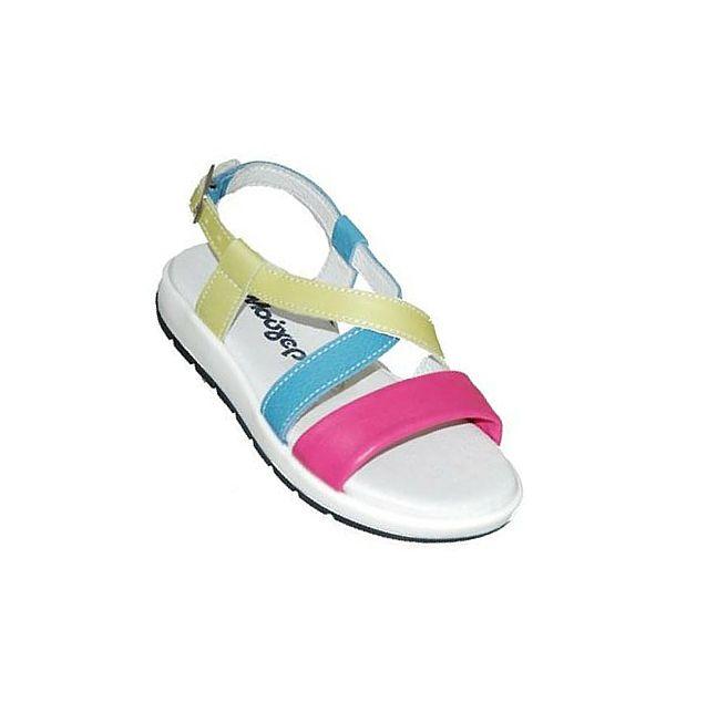 #children #shoes Πέδιλο Mούγερ δερμάτινο, πολύχρωμο με κούμπωμα στον αστράγαλο.