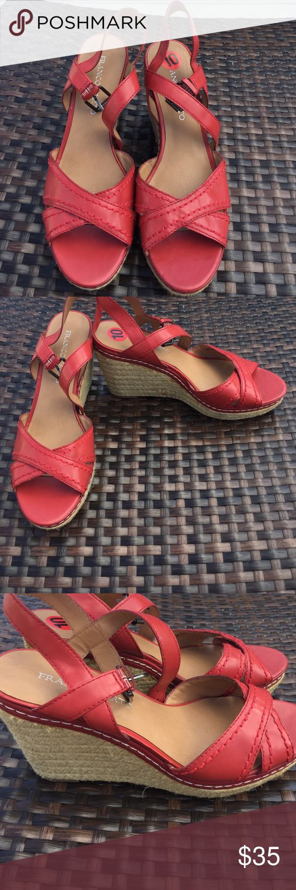 NWOT Franco Sarto Red Wedge 10 New without tags Franco Sarto, size 10, red wedge shoes, adjustable ankle straps, adorable with a pair of shorts and a little top. Franco Sarto Shoes Wedges