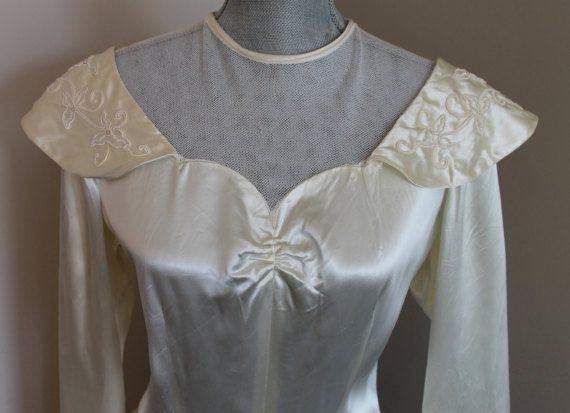 1940's Vintage Ivory Satin Wedding Dress   Pearl by FunkieFrocks