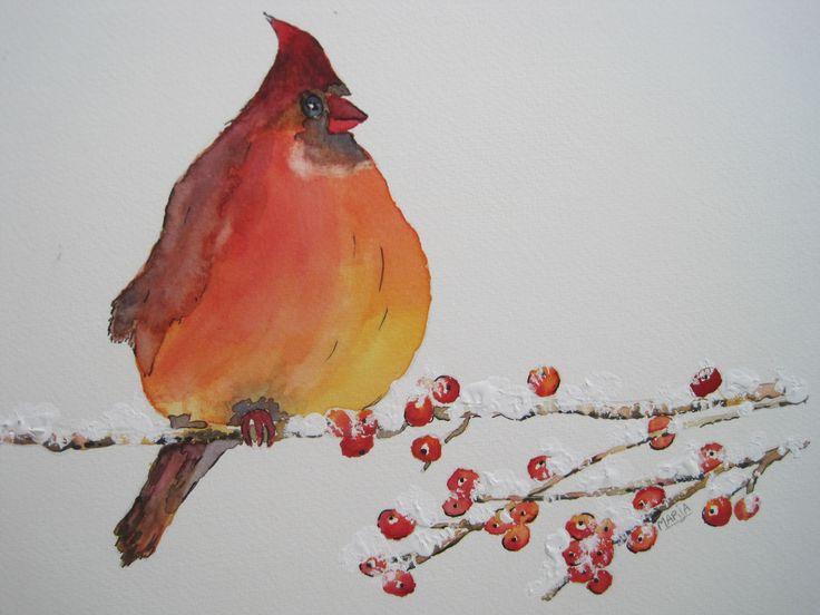 aquarel Kardinaal vogel 2014
