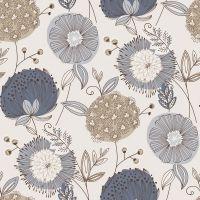 Blå tapeter : Blå blomster tapet