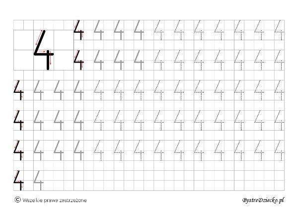 Cyferki dla dzieci - szablon do nauki pisania 4 - matematyka