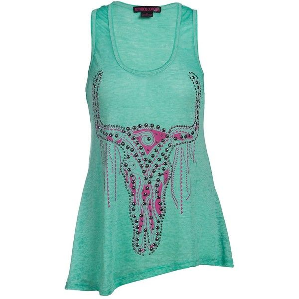 Rock and Roll Cowgirl Women's Turquoise with Pink Steer Skull and Stud... ($37) ❤ liked on Polyvore featuring tops, shirts, tanks, skull shirt, racer back tank, turquoise shirt, racerback tank and blue shirt