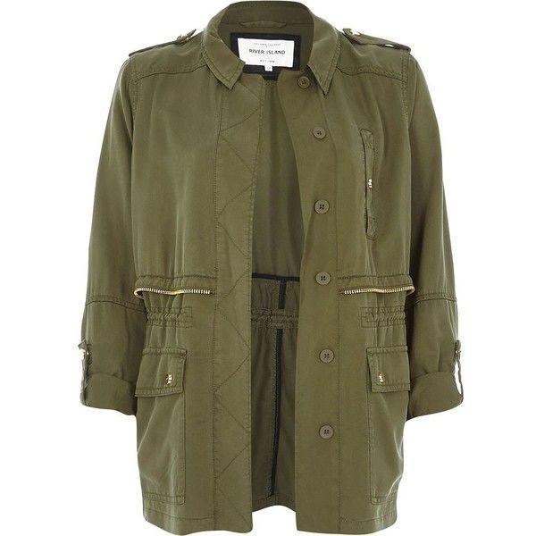 River Island Khaki utility military casual jacket found on Polyvore featuring outerwear, jackets, vests/kimono, coats / jackets, khaki, women, kimono jacket, military inspired jacket, military fashion and khaki military jacket
