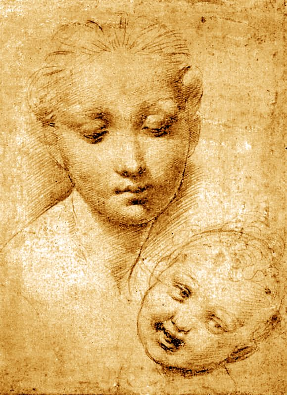 RAFFAELLO Sanzio Study of Heads, Mother and Child 1509-11