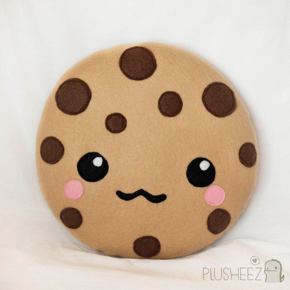 Kawaii  cookie plush toy cushion cute chocolate chip cookie mm cookie cartoon face cute pillow felt. no pattern