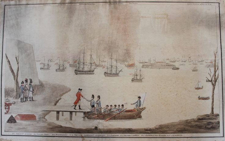 Akvarellen viser den engelske parlamentærs modtagelse. På badebroen står Peymann i en rød uniform. Han modtager et brev af to blåklædte officerer i en båd med hvidt flag. I baggrunden skibene Trekroner og Lynetten. Dannebrog springer i luften. Kunstner og datering er ukendt.