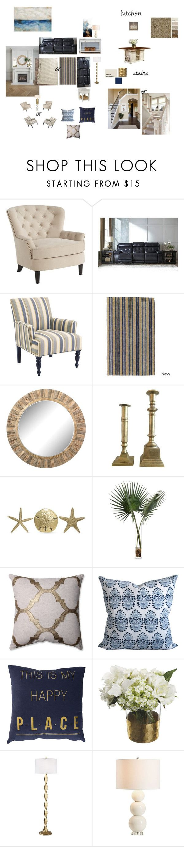 """Navy family room"" by marcia28 on Polyvore featuring interior, interiors, interior design, home, home decor, interior decorating, Pier 1 Imports, Signature Design by Ashley, Kosas Collections and Fetco"