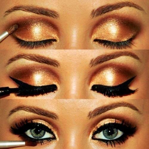 eyeshadow: Makeup Nails, Cat Eye, Eye Makeup, Hair Makeup, Makeup Ideas, Eyeshadows, Eyemakeup, Makeup 3, Gold Eye