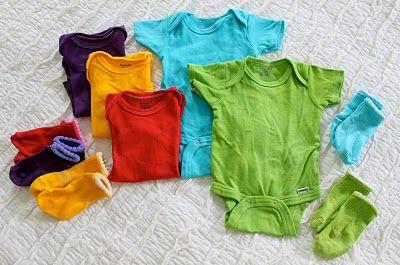 DIY - dyed onesies, can use Kool-Aid