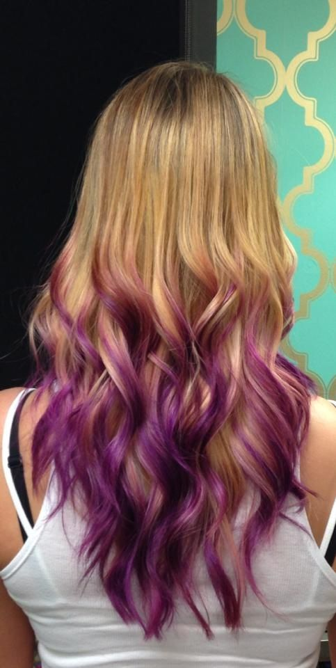 We did some fun orchid purple ombré/ dipped tips look on ...